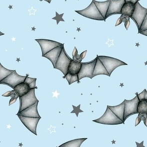 Ditsy Bats and Stars on light blue - large scale