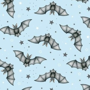 Ditsy Bats and Stars on light blue - medium scale