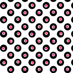 Dots on Spots on Big Polka Dots - Black, White & Pink on White