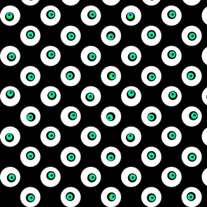 Dots on Spots on Big Polka Dots - White, Black & Green on White