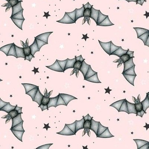 Ditsy Bats and Stars on blush - medium scale