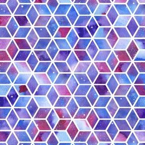 Hexagons - blue/purple/pink watercolour