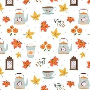 Cup of tea in autumn breeze