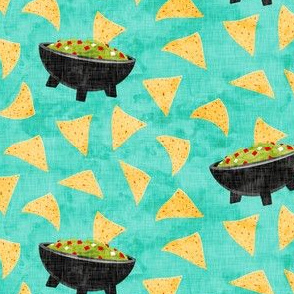 Chips and Guacamole - guac on teal - LAD19