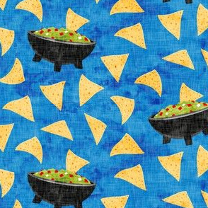 Chips and Guacamole - guac on blue - LAD19