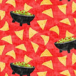 Chips and Guacamole - guac on red - LAD19