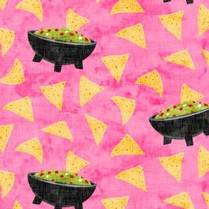 Chips and Guacamole - guac on pink - LAD19