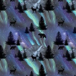 Aurora Borealis Pattern  with Polar Bears MED