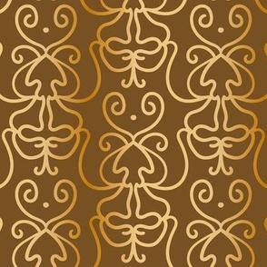 Doodle damask gold