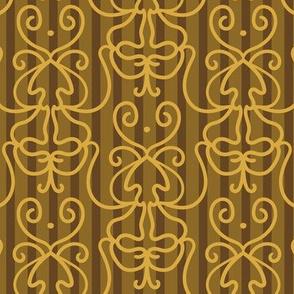 Doodle damask on stripes gold