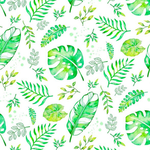 watercolor tropical green leaves - large