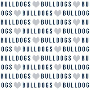 bulldogs fabric - navy and grey bulldogs, school sports, sports team