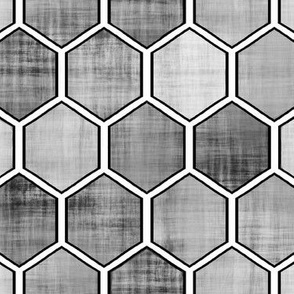 "Geometric Hexagon""Save the Honey Bees""Honeycomb med-Gray Distressed"