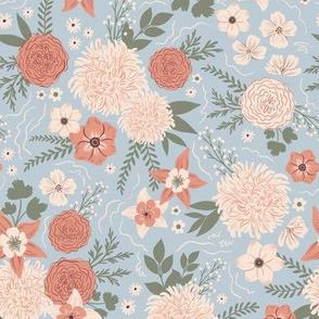 Crysanthemum floral light blue - small