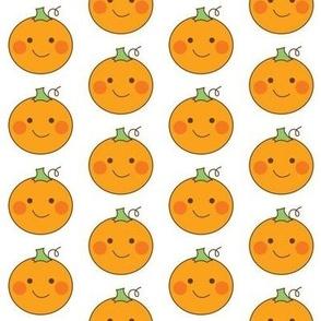cute pumpkin faces on white