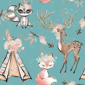 Forest Friends Teal deer fox racoon tent gold sparkles