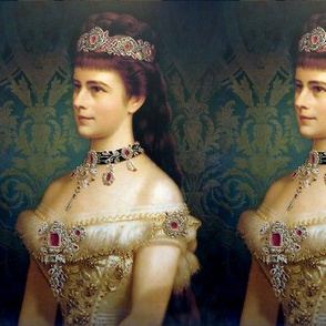queens princesses crowns white gowns tiaras baroque victorian beauty royalty ruby rubies diamonds necklaces chokers off-shoulder damask floral empresses ballgowns rococo royal portraits beautiful lady woman elegant gothic lolita egl neoclassical historica