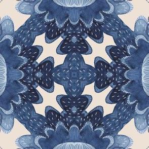 Indigo watercolor geometric ovals