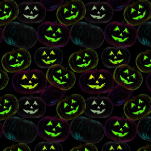 Green Halloween pumpkins
