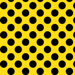 Big Polka Dots - Black on Yellow