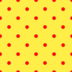 Classic Polka Dots - Red on Yellow