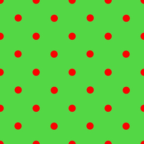 Classic Polka Dots - Red on Green
