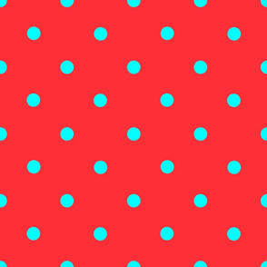 Classic Polka Dots - Turquoise on Red