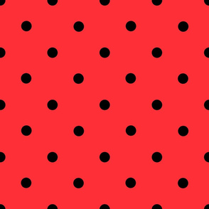 Classic Polka Dots - Black on Red