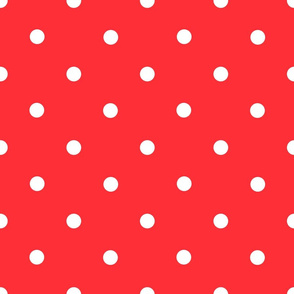 Classic Polka Dots - White on Red