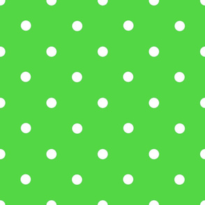 Classic Polka Dots - White on Green