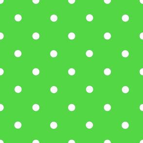 Classic Polka Dots - White on Green