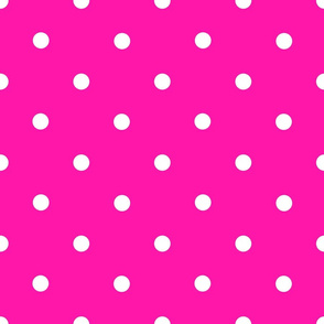 Classic Polka Dots - White on Fuchsia