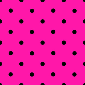 Classic Polka Dots - Black on Fuchsia