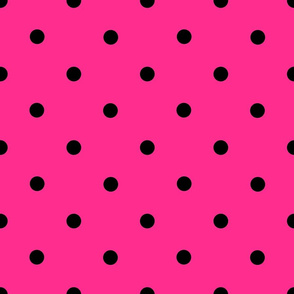 Classic Polka Dots - Black on Hot Pink