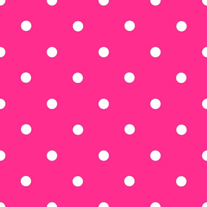Classic Polka Dots - White on Hot Pink