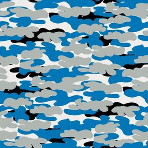 lions camo - camouflage fabric, blue and grey, detroit fan fabric