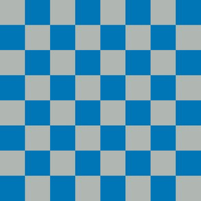 lions checkerboard - blue and grey checkerboard fabric