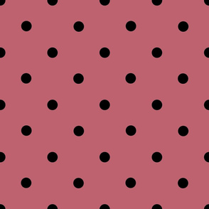 Classic Polka Dots - Black on Mushroom Pink