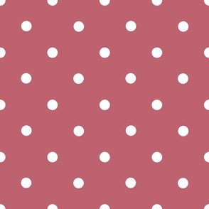 Classic Polka Dots - White on Mushroom Pink