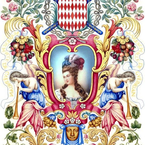 Marie Antoinette inspired beautiful female woman princess queen baroque rococo Victorian lady flowers roses angels lady fruits crowns trumpets leaf wings leaves flourish medallion vines coat of arms herald feathers pouf 18th century faces frame border Bou