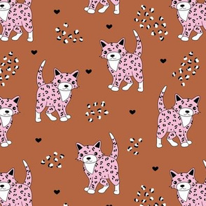Little baby leopard winter wild cat animal print and hearts sphinx cheetah panther kids girls autumn pink copper