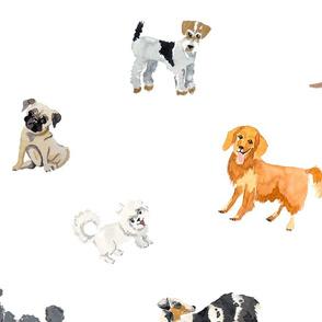 Watercolored Dogs Pattern