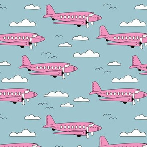 Safe travels vintage plane ride sky big birds and clouds girls pink blue