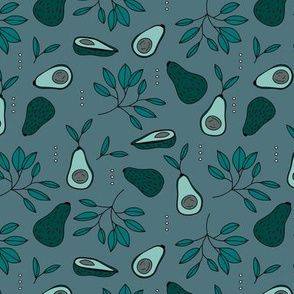 Avocado summer garden leaves and farmer's market design night stone blue mint