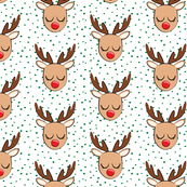 "(2"" scale)  Reindeer - green polka - Holiday fabric C19BS"