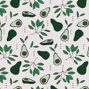 Avocado summer garden leaves and farmer's market design beige green