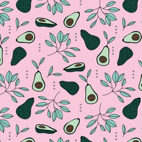 Avocado summer garden leaves and farmer's market design peach green