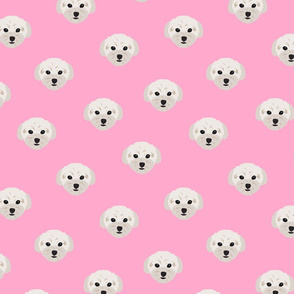 Maltese Dog Pattern - Small - Pink Background