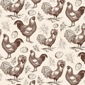 Vintage Chickens and Eggs in Brown