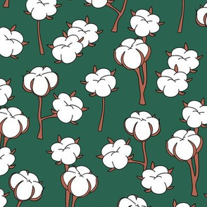 Soft cotton bolls autumn winter garden botanical love soft white forest green